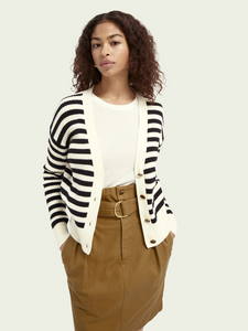 Scotch & Soda Striped Organic Cotton-Blend Cardigan