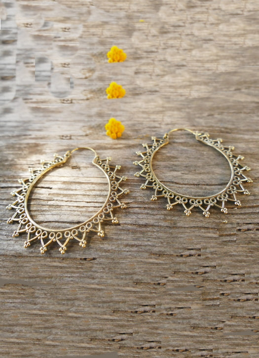Geometric detailed Brass hoop earrings