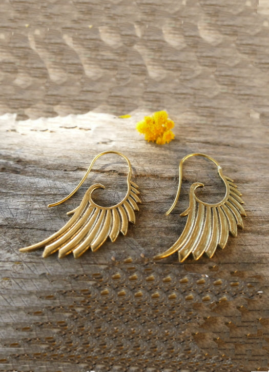 Brass angel wings earrings