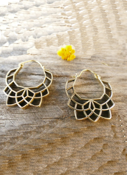 Brass Geometric lotus flower hoop earrings