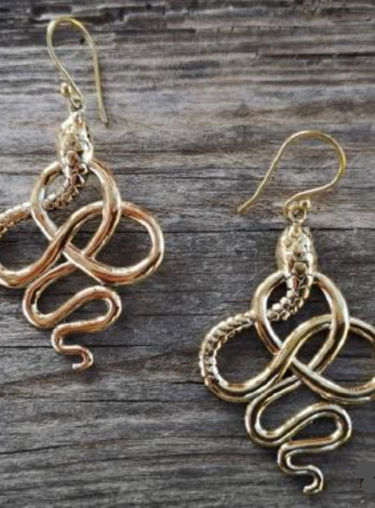 Brass Snake drop earrings