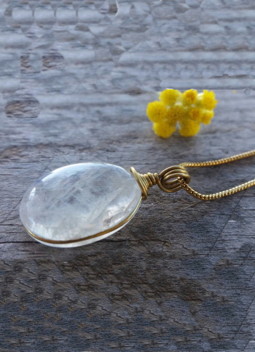 Brass necklace with rose quartz pendant