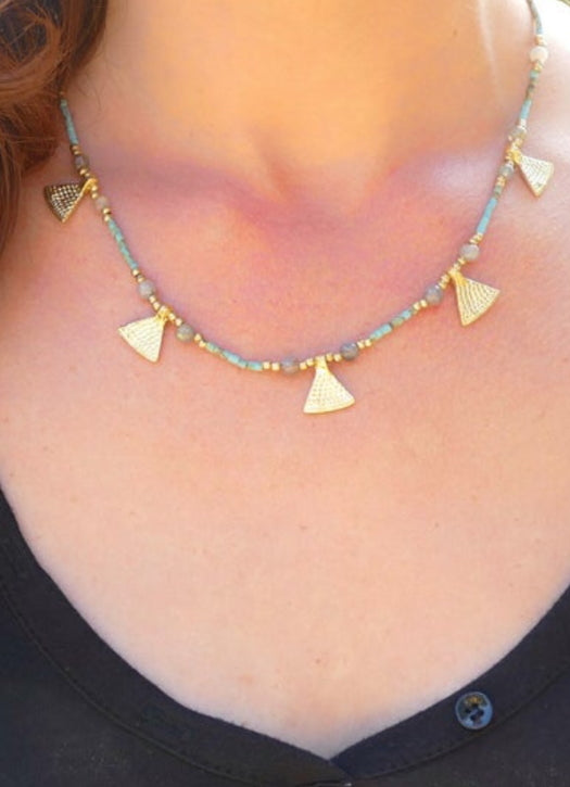 Brass, crystal and stone short necklace