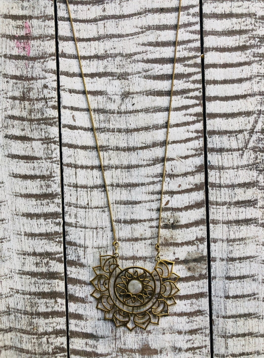 Lotus Detail Long Necklace with moonstone
