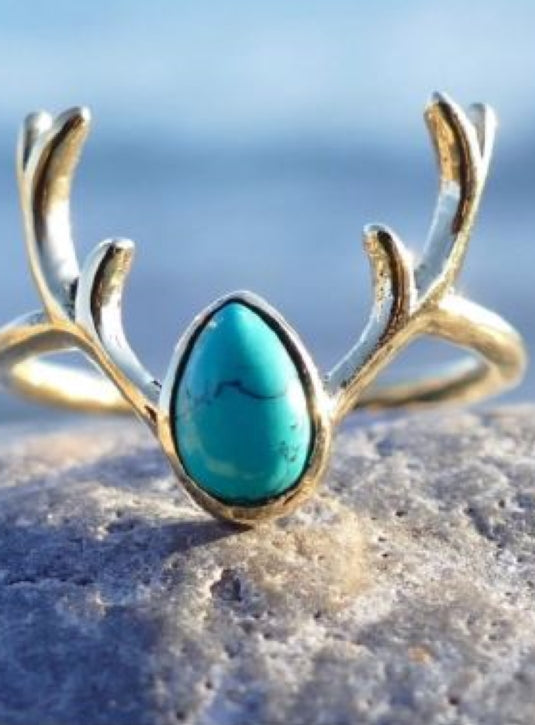 Brass Antler ring with Turquoise stone