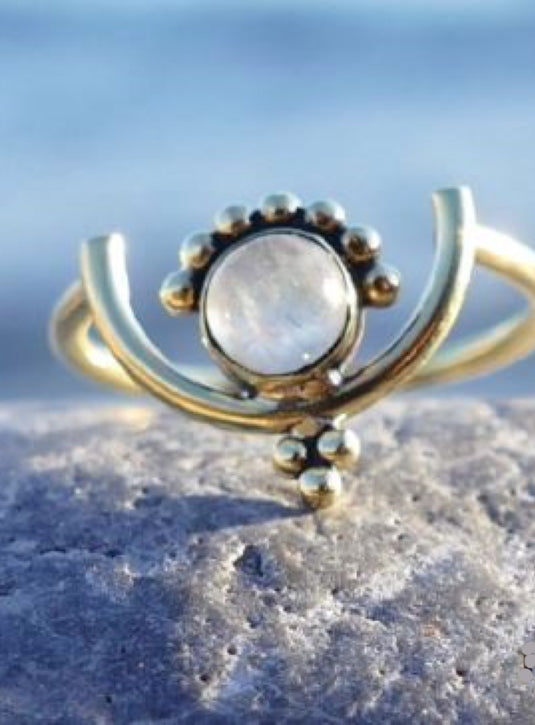 Delicate Brass ring with moonstone setting