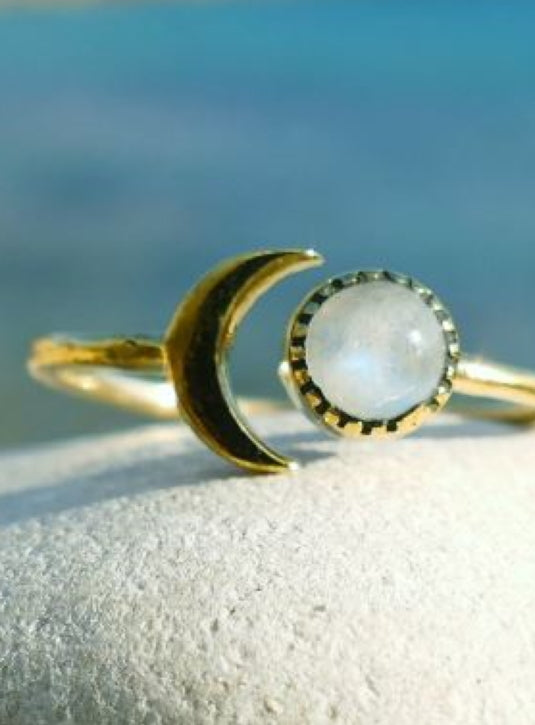 Delicate Sun & moon Brass ring with moonstone setting
