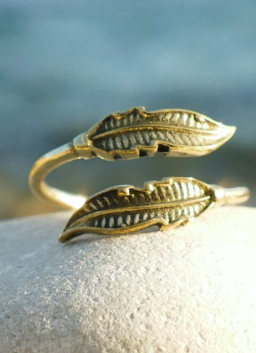 Delicate Brass leaf ring