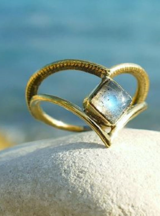 Delicate Brass wishbone ring with Moonstone setting