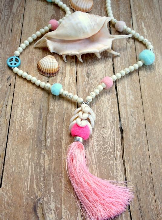 Wood Bead Necklace W/Pompom & Big Tassel