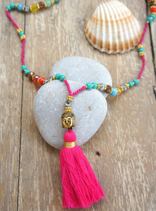 Mini Buddha Mix Crystal W/ Tassel