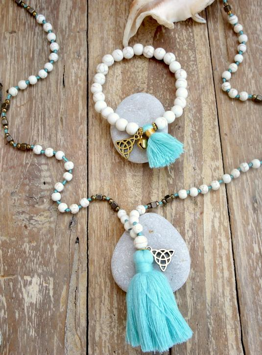 White Beads Necklace & Bracelet set with Trinity Symbol