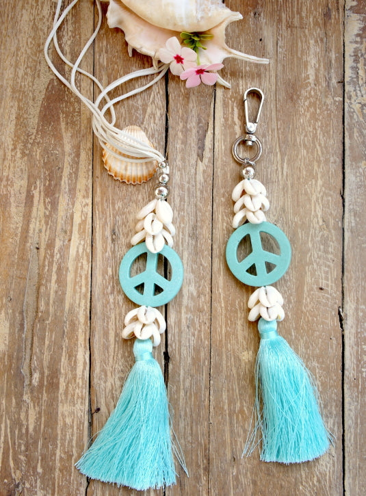 Bag Decoration with Shells & Peace Symbol