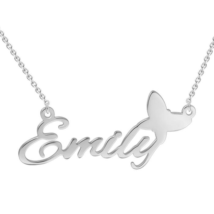 Infinite Lucky Birth Stone Love 925 Silver Name Necklace