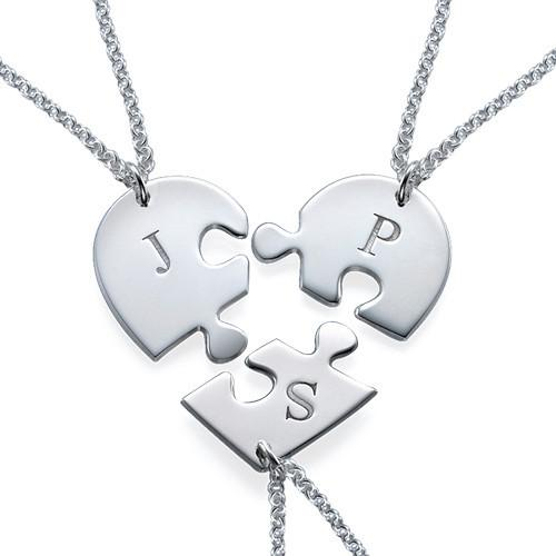 Initial Letter Heart Together Family Necklace Birth Stone 925 Silver Name Necklace