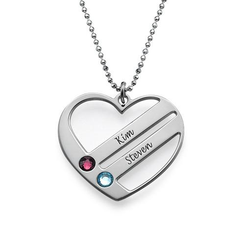 Heart Together Family Necklace Birth Stone 925 Silver Name Necklace