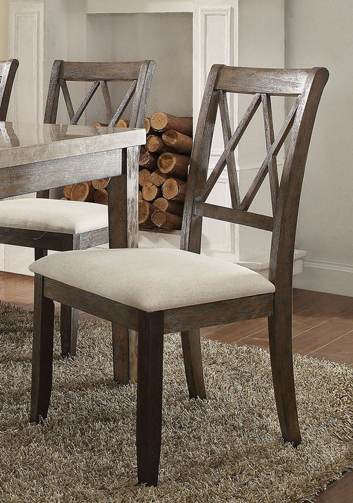 Acme Furniture Claudia Side Chair in Beige and Brown (Set of 2) 71717 image
