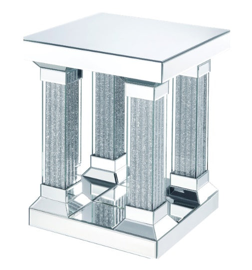 Acme Furniture Caesia End Table in Mirrored/Faux Diamonds 87907 image