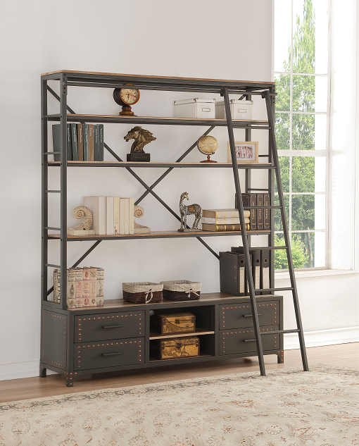 Actaki Sandy Gray Bookshelf & Ladder image