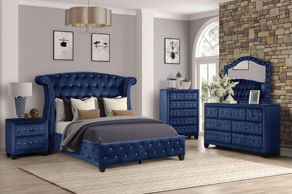 Sophia Blue Queen 5-Piece Bedroom Set