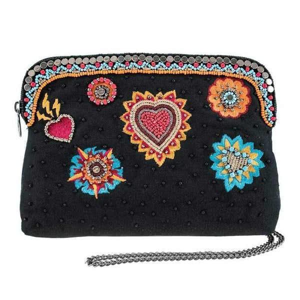 Flaming Hearts Beaded Makeup Bag