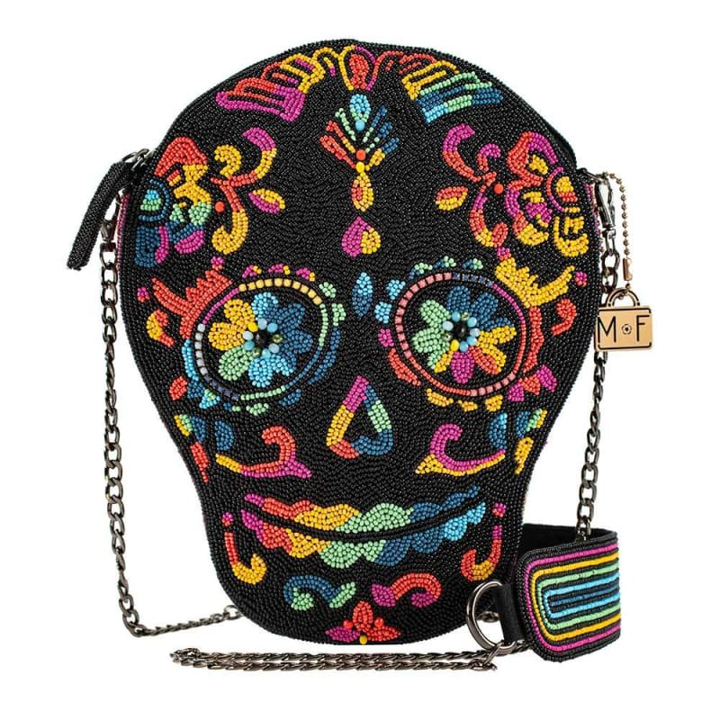 Out Of My Mind Beaded Crossbody Rainbow Skull Handbag