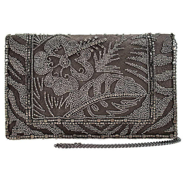 Rainforest Pewter Beaded Crossbody Clutch Handbag