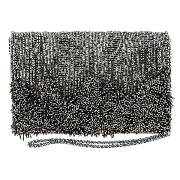Rough Around the Edges Pewter Beaded Crossbody Clutch Handbag - Sale