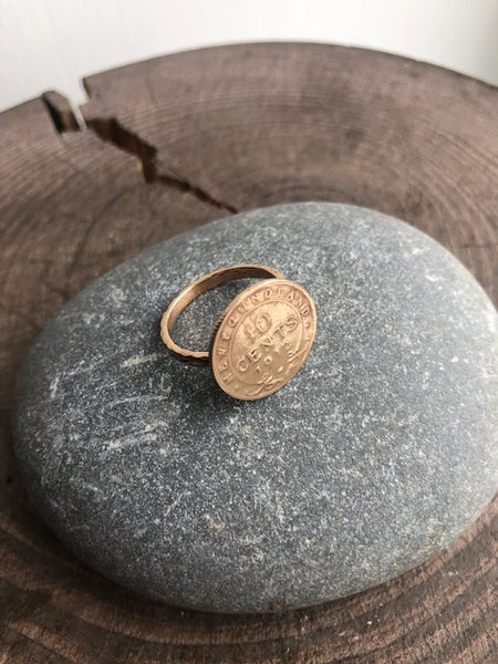 Newfoundland 10 Cent Impression Coin Ring