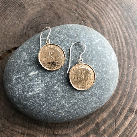 Newfoundland 10 Cent Impression Coin Earrings