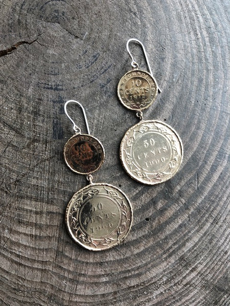 Newfoundland 10 & 50 Cent Coin Impression Earrings