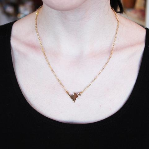 Gold Mini Newfoundland Necklace, Tumbaga (Copper/Brass) -Lissa Bowie Whink|Canada