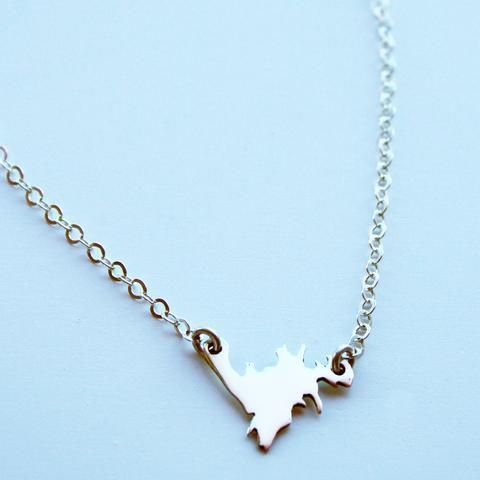 "Silver Mini Newfoundland Necklace, Sterling Silver 17"" -Lissa Bowie Whink