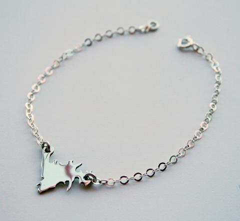 Silver Newfoundland Chain Bracelet, Sterling Silver 7