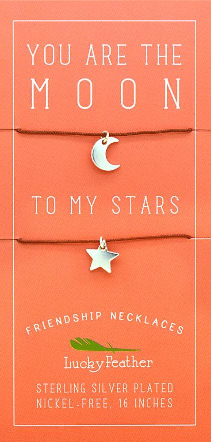 Moon and Stars Necklace Set of 2