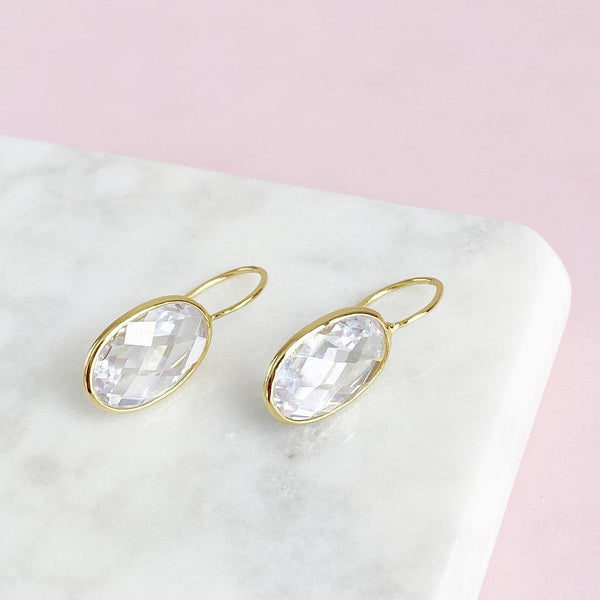 Oval Crystal Gold Earrings