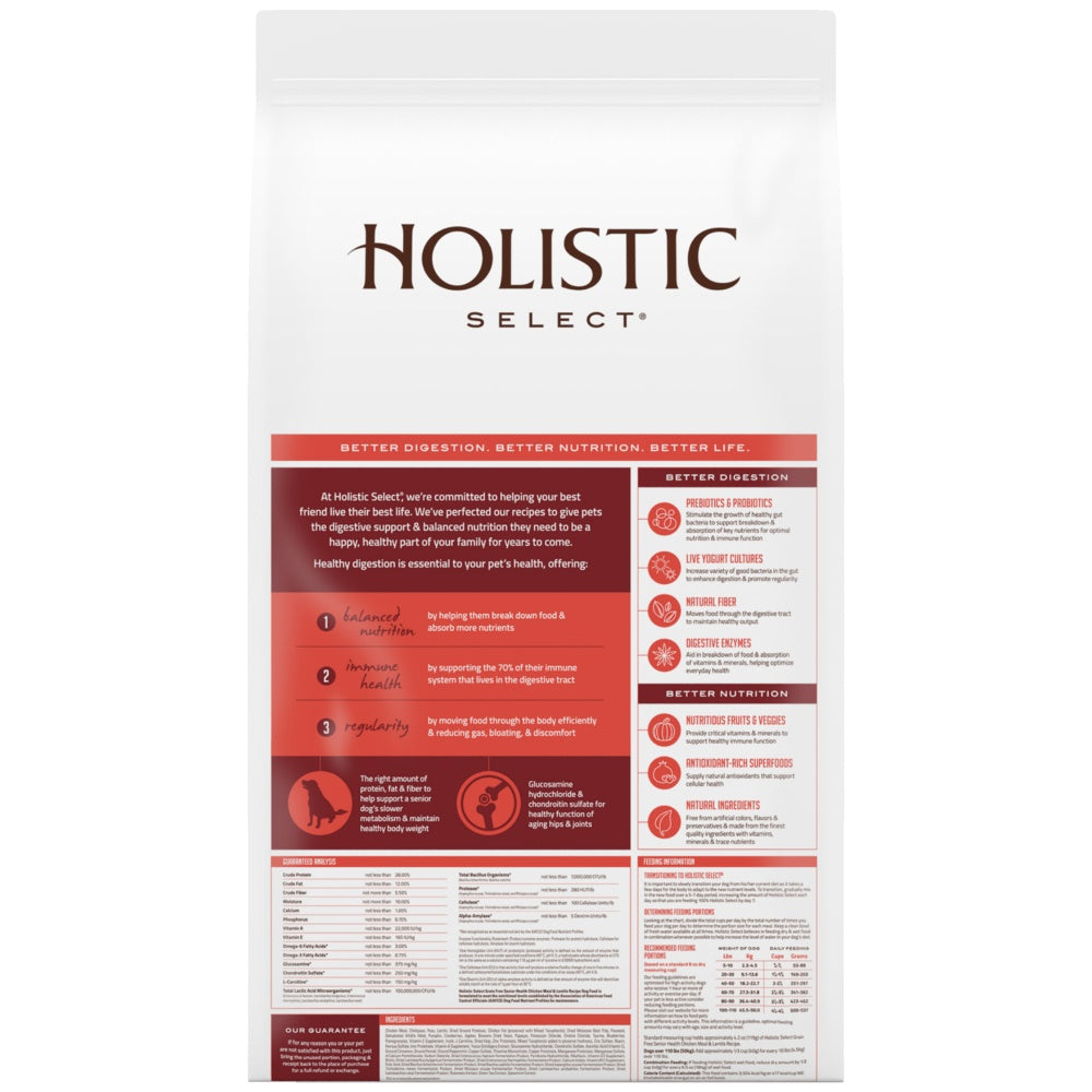 Holistic Select Natural Grain Free Senior Chicken Meal and Lentil Dry Dog Food