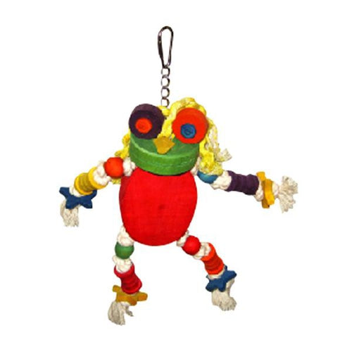 A & E Happy Beaks Silly Wooden Frog Bird Toy Bird Cage Accessory