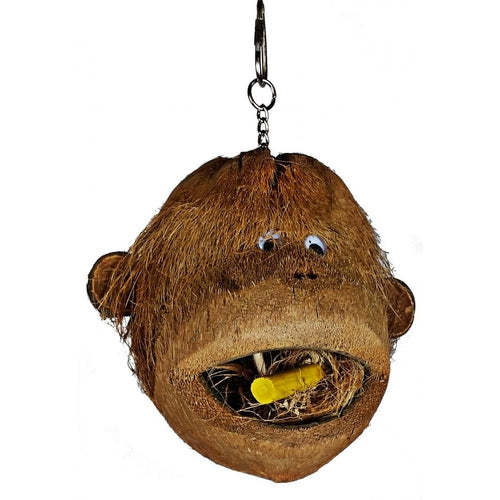 A & E Happy Beaks Coco Monkey Head Bird Toy Bird Cage Accessory