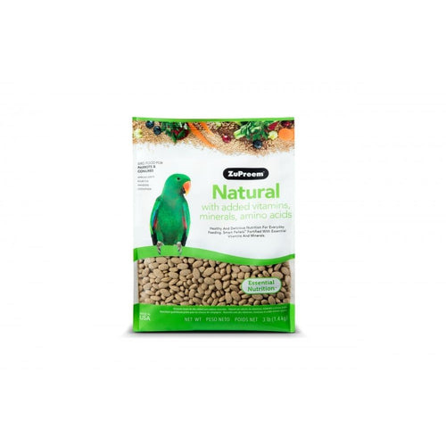 Zupreem Natural Food with Added Vitamins Minerals Amino Acids for Parrots and Conures