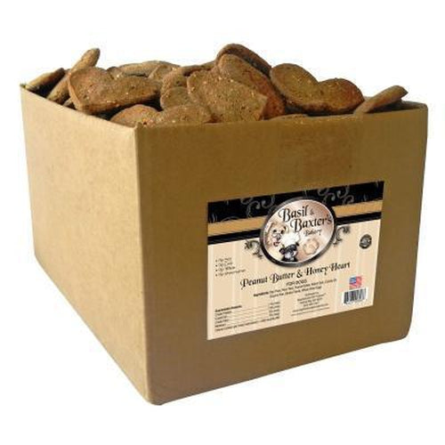 Basil & Baxter's Peanut Butter Honey Large Heart Dog Biscuits 10 lbs