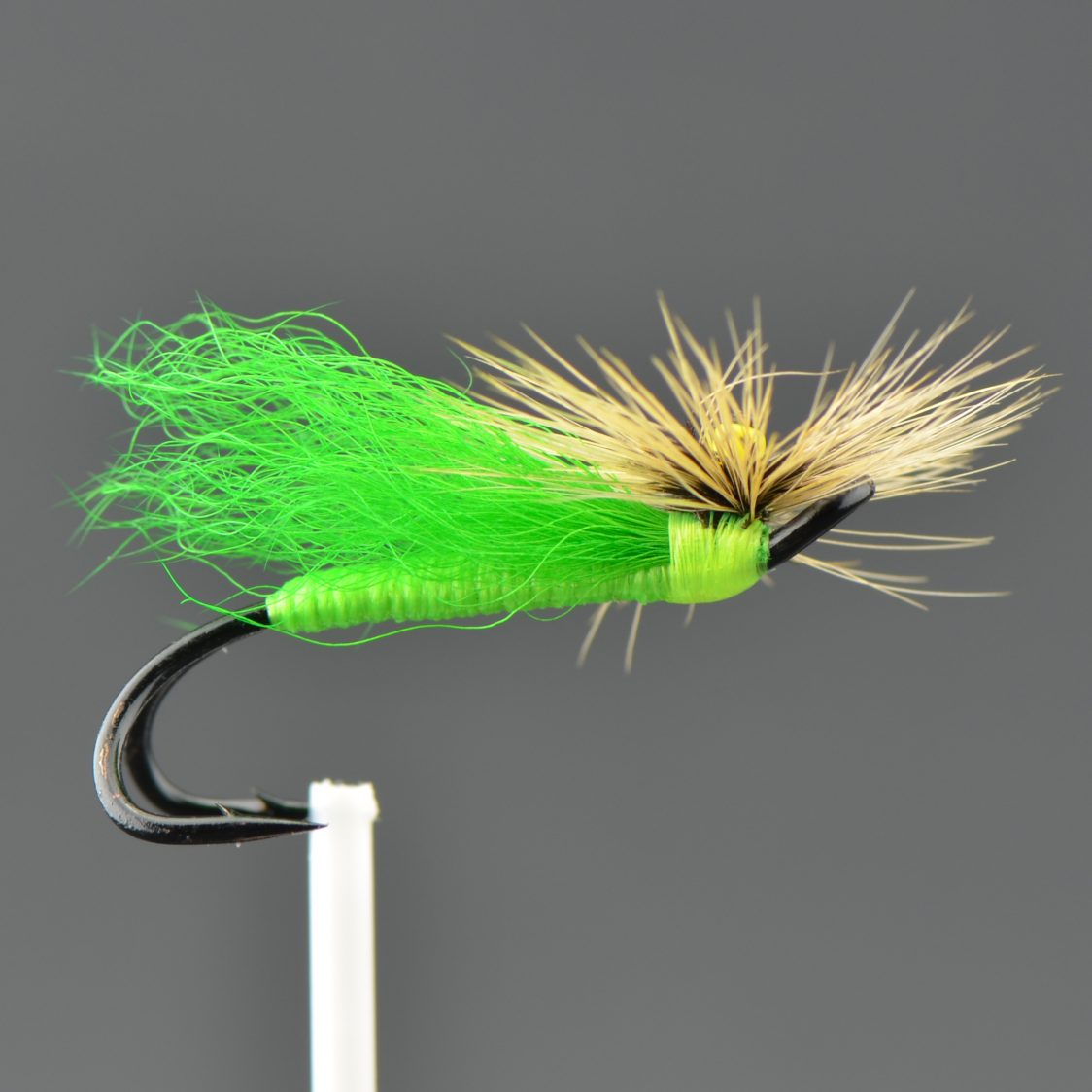 Stone Fly - Green Body/ Green Wing/ G. Badger Hackle (Double)