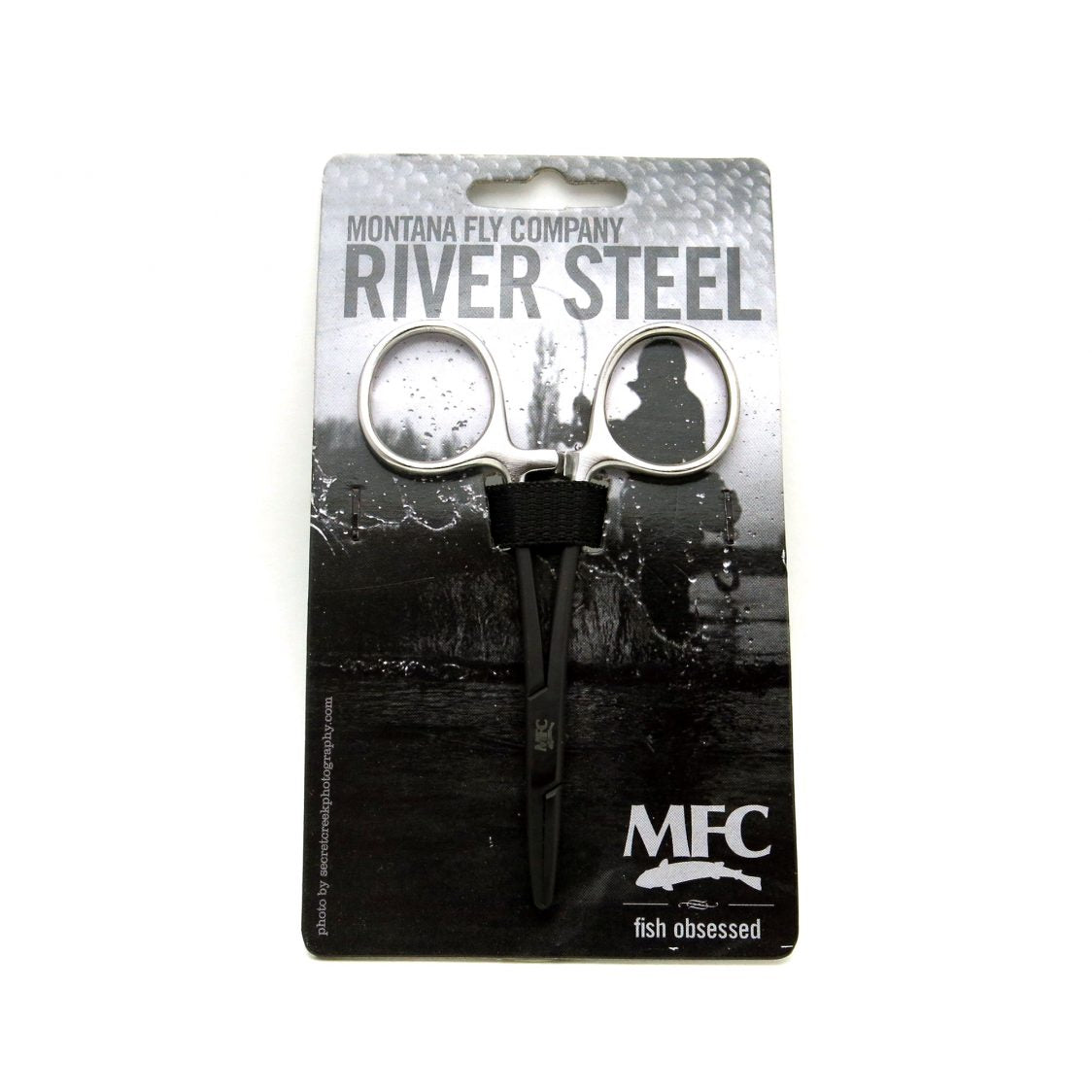 MFC River Steel - 5″ Straight Tip Forceps (Black/Silver)