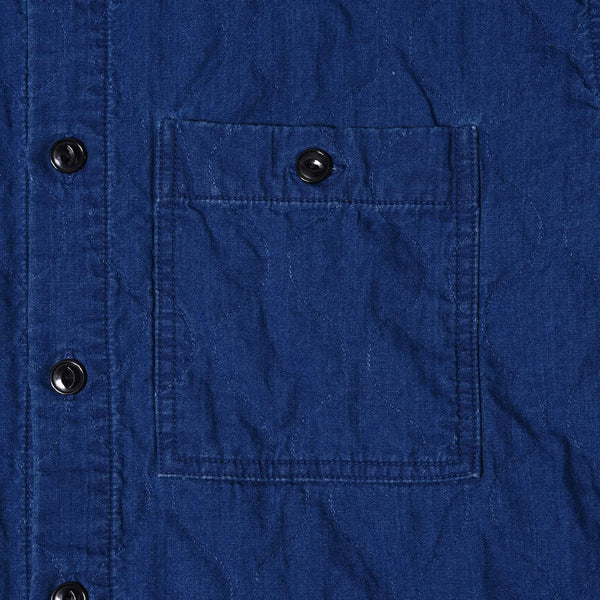 QUILTED DENIM STAND SHIRT