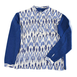 HENLEY NECK IKAT WAFFLE LONG SLEEVE CUT AND SEAW
