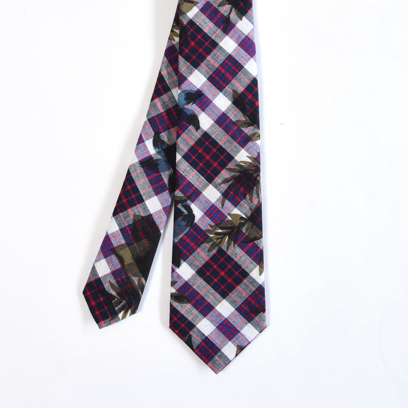 MADRAS NAVY CHECK TIE