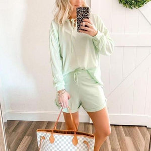 Fresh Light Green Long Sleeve Drawstring Two Piece Set 0