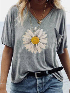 Grey Print Short Sleeve Top 2