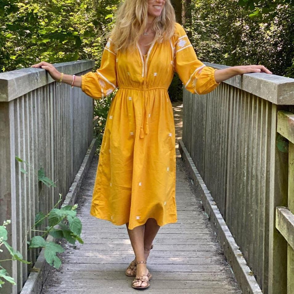 Yellow Print 3/4 Sleeve Midi Dress 0