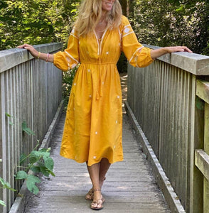 Yellow Print 3/4 Sleeve Midi Dress 4